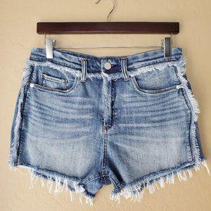 Blank NYC High Rise Fringe Wedge Denim Shorts